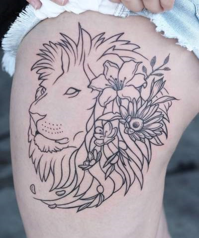 Pretty linework lion tattoo with flowers blurmark pretty linework lion tattoo with flowers mightylinksfo