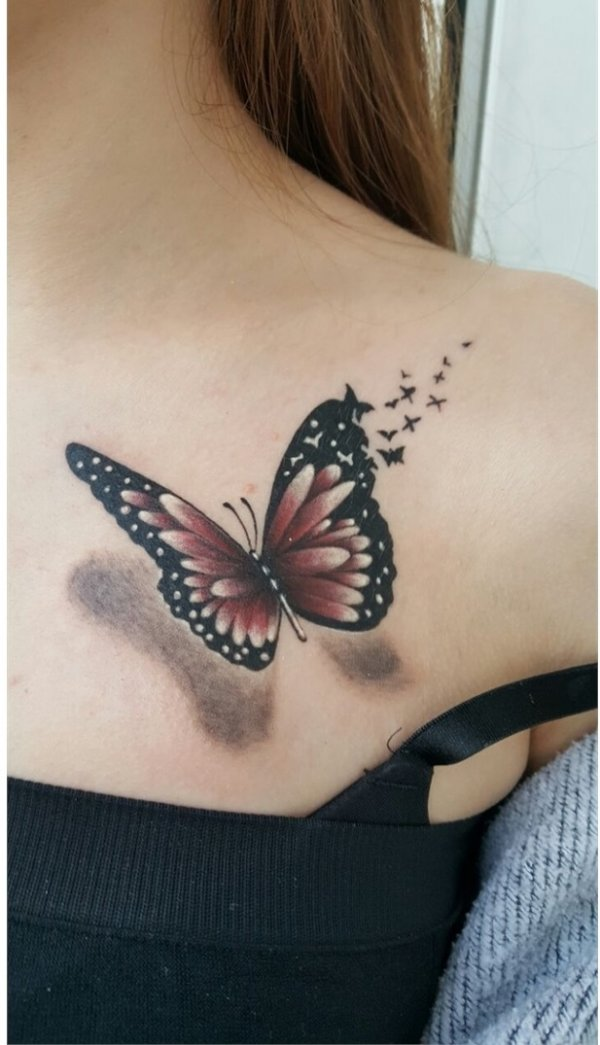 3d Butterfly Tattoo To Get For Front Shoulder Blurmark