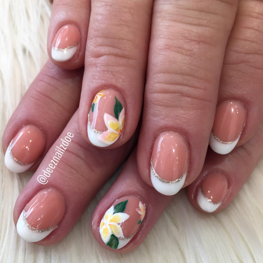 Creative Set Of Nails With Plumeria