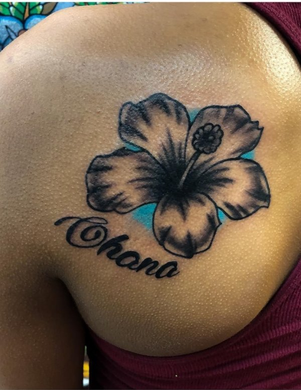 Hibiscus Tattoo On Shoulder