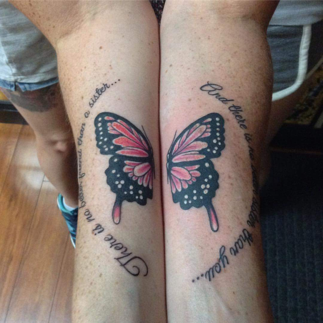 Tattoo Quotes Butterfly: 60 Cool Sister Tattoo Ideas To Express Your Sibling Love