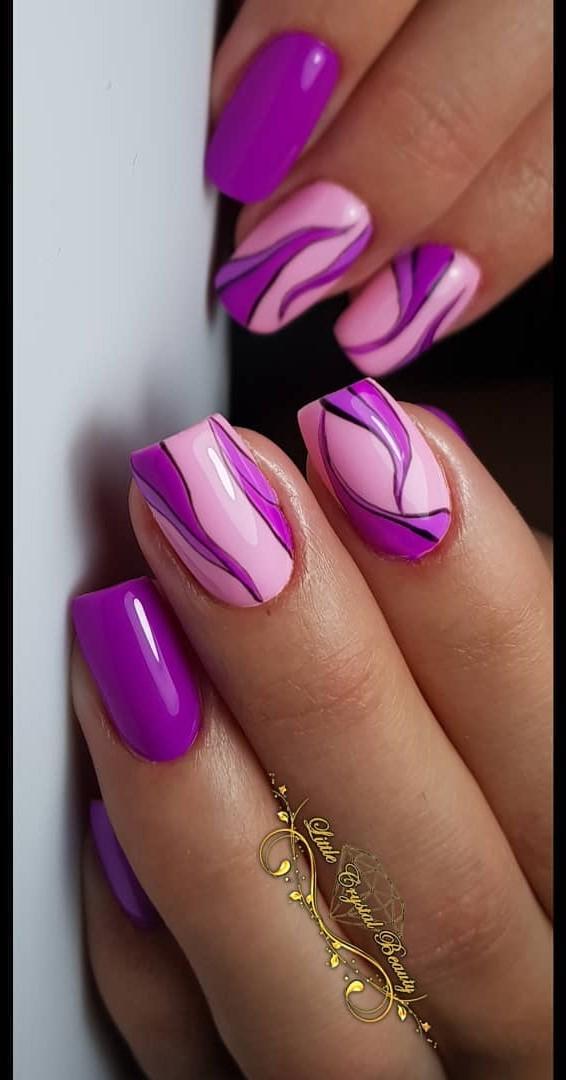 Pink And Purple Designer Nails Blurmark