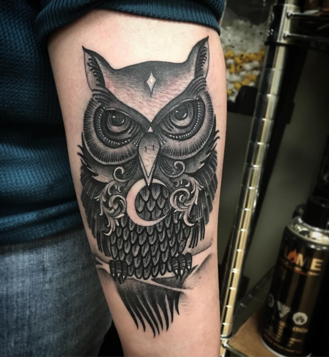 Trendy Black Coverup Forearm Owl Tattoo Blurmark