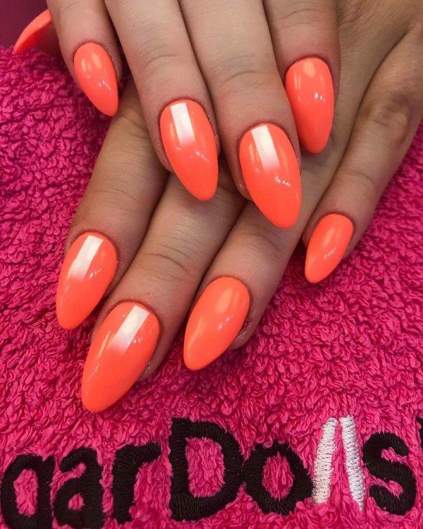 Bright Orange Almond Gel Nails