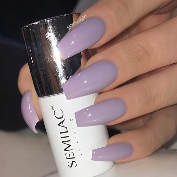 Lilac Gray Coffin Gel Nails Blurmark