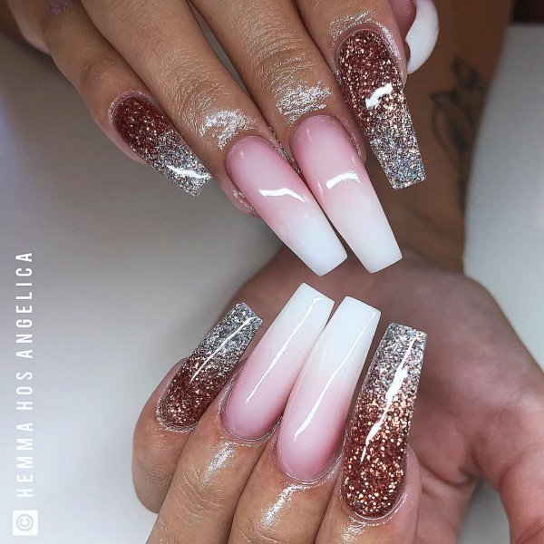 Pink And White Ombre Gel Nails With Glitter