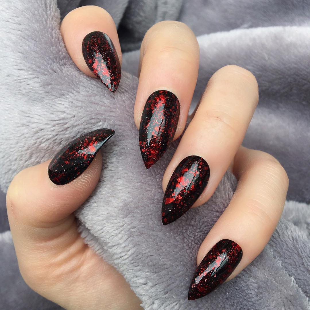 Red And Black Stiletto Gel Nails