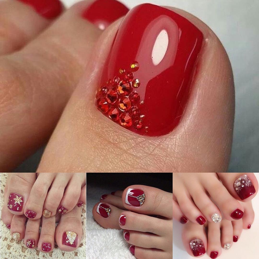 Eye Catching Red Christmas Toe Nails