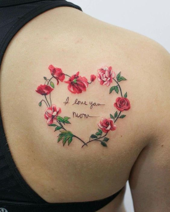 Heart shape flower tattoo design on shoulder looking very cute with Watercolor.