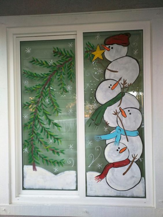 Snowman Painted On Window A For Christmas Decoration